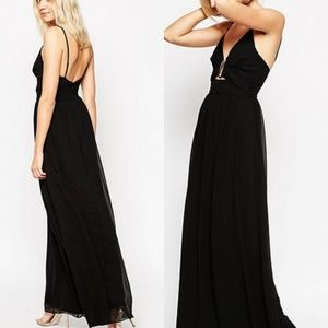 Asos tall black chiffon maxi cutout dress